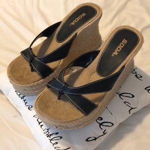 Soda Black and Hemp Platform Sandals